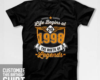 20th Birthday Outfit Bday T Shirt Birthday Present For Him Custom Gift Ideas For Her B Day TShirt 1998 Birthday Mens Ladies Tee CTM-580