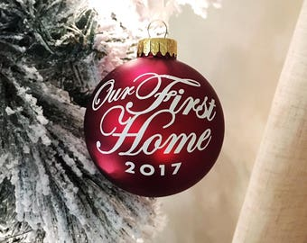 Our First Home Ornament, Personalized Ornament, Housewarming Gift, Newly Wed Gift, First House Gift, New Home Gift, Merry Christmas