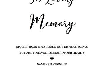 PRINTABLE Custom In Loving Memory Sign
