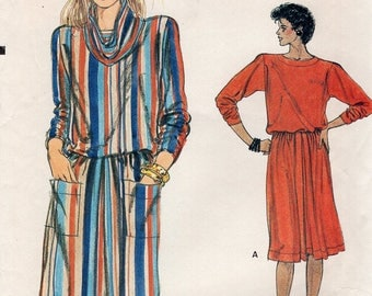 FREE US SHIP Vogue 8884 Vintage Retro 1980s 80s Cowl Neck Top Skirt Dress Size 8 10 12 Uncut Sewing Pattern Pullover Bust 30 31 32