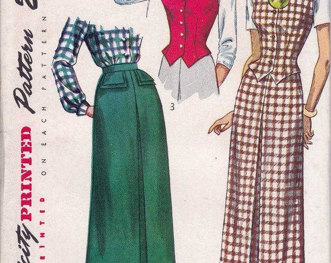 FREE US SHIP Bust 38 Vintage Retro 1940's 40's Original Sewing Pattern Simplicity 2720 Uncut Pencil Skirt Weskit Vest Unused ff waistcoat