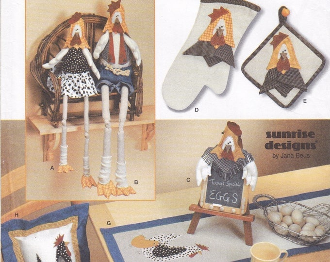 FREE US SHIP Simplicity 7166 Sewing Pattern Uncut Mr Mrs Chicken Hen Rooster Dolls Kitchen Accessories Pillow Potholders Runner Placemat oop