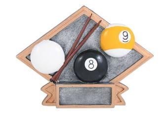 CLOSEOUT - Billiards Award - Diamond Shaped Resin - 8 Ball Award - 9 Ball Trophy - Pool Trophy
