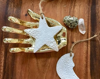 Boho Moon And Star Ornaments