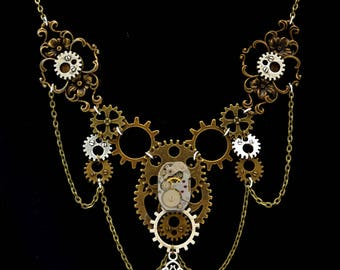 "Necklace Steampunk mechanism ""The Secret of Time"""