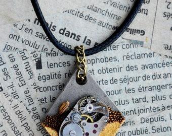 """Steampunk men necklace / mixed concrete gold mechanism """"Remnants"""""""