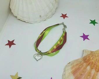 Ribbon and heart charm bracelet