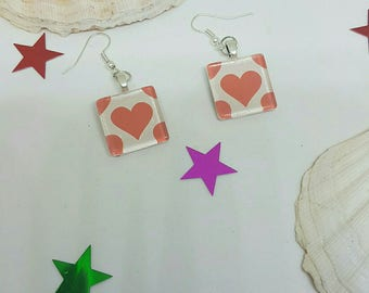 Glass Red Heart Earrings