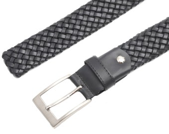 Braided Leather Belt - Black Leather Belt