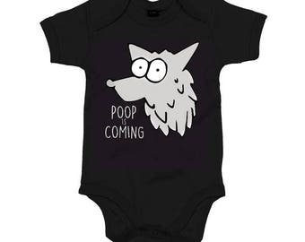 Poop is coming - Game Of Thrones parody Art Babygrow - Sleepsuit - Stark
