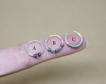 12 mm - Bali Hoop Earrings, 925 Sterling Silver, Cartilage Earrings, Helix, Tribal Jewelry, Body Jewelry, Piercing - MI.21/HP079-81 /SETD