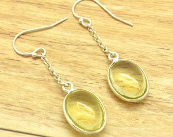 Lemon Quartz Dangle Earrings Sterling Silver Cinch Set Genuine Quartz Earrings Yellow Gemstone Drop Earrings Yellow Earrings