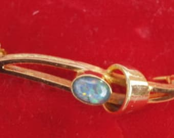 FLAME FIRE opal gold filled brooch