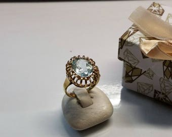 Art Deco ring gold 585 aquamarine shabby vintage old GR305