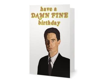 Twin Peaks Birthday Card, Special Agent Dale Cooper, David Lynch, Laura Palmer, Blank Card (100% Recycled Paper)
