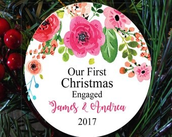 Personalized Our first christmas Engaged ornament, christmas ornament,  couple christmas ornament, christmas ornament, couple gift