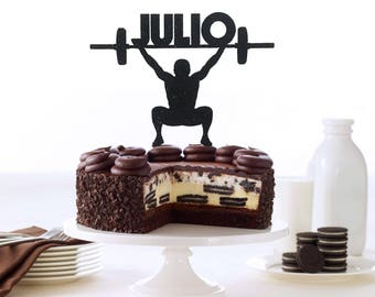 CrossFit Cake Topper, Custom Name Trainer Cake Topper, Bodybuilder Cake Topper, Weight Lifting Toppers, Gym Decoration, Fitness Cake Topper