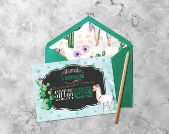 Llama Invitation | Baby Boy Birthday, Baby Girl Birthday, Llama Birthday, First Birthday Invite, Printable Invitations, Cute Animal Invite