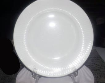 SET of 3 vintage (c.1980s) Johnson Brothers Athena White classic ironstone ribbed dinner plates. Different backstamps.