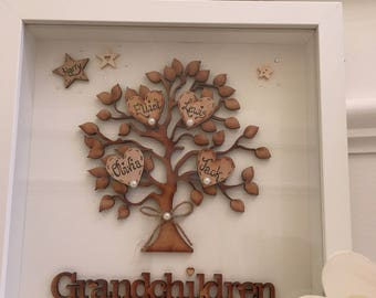 Personalised Grandchildren Family Tree Frame, Handmade, personalised, gift, handmade family tree, personalised, box framed, family tree