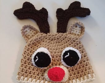 Crocheted Reindeer Hat, Infant Reindeer Hat, Baby Photo Prop, Christmas Baby Hat, Ready To Ship, Red Nose Reindeer Hat,  Stocking Stuffer
