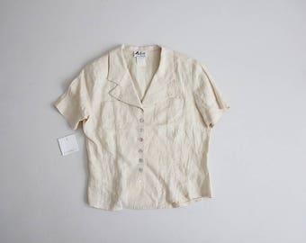90s linen blouse | shell button blouse | cream linen top