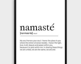 Namaste Printable Art   Namaste Definition, Yoga Gifts, Wall Print, Namaste  Gift for