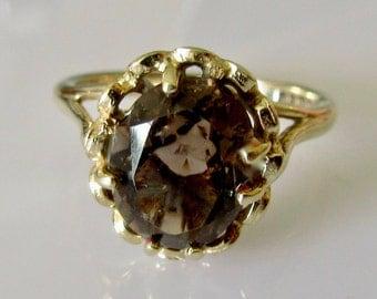 9ct Gold Smokey Quartz Ring Size L or 5 1/2