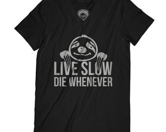 Fathers day shirt sloth t-shirt funny t-shirt husband gift father present live slow tshirt motivation t-shirt yoga shirt APV28