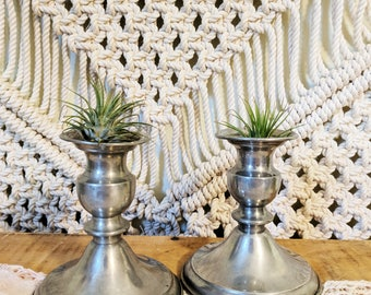 Pair of Pewter Candle Holders / Pewter / Candlestick Holders