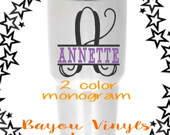 Split monogram, 2 color monogram, Yeti decal for women, Tumbler decal, Custom yeti decal, Personalized decal, Yeti tumbler decal