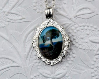Bright Silver Oval Brooch Style Photo Pendant with Image of mountain tree Large Silver Pendant