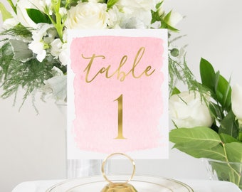 Gold Foil and Pink Ombre Watercolor Table Numbers, Cute, Elegant, Unique, Kraft, pink watercolor #0139