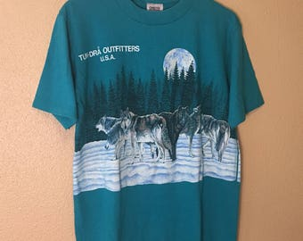 Vintage 1980s Wolf Tee Shirt / 80s Wildlife T-Shirt