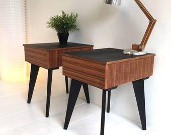 Bedside Tables x 2 - Vintage Retro Mid Century Modern