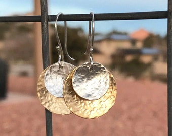 Hammered brass and sterling silver drop earrings, dangle earrings, brass dangle earrings, brass drop earrings, boho earrings, gift for her