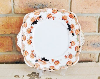 Royal Albert 1920s heirloom fine bone china Imari style porcelain cake plate, red poppy floral motif, high tea, vintage wedding gift idea