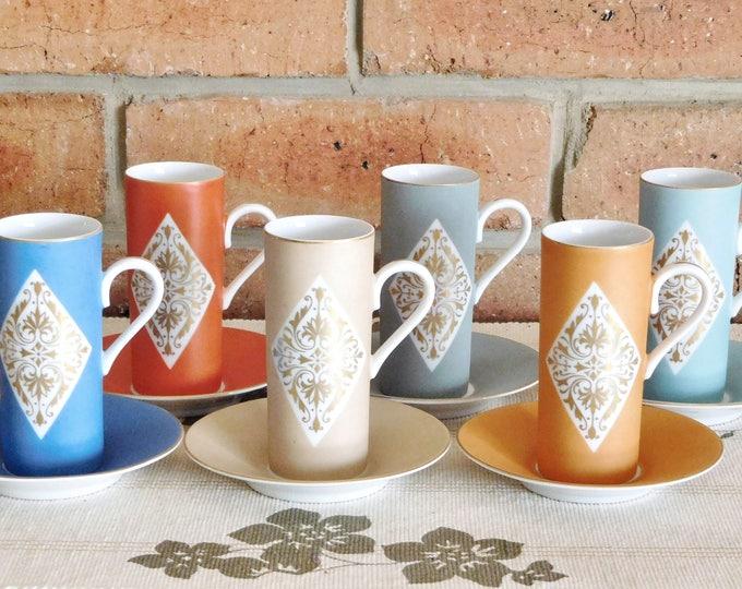 Featured listing image: Mokar China of Japan 1960s fine bone china set of 6 harlequin espresso cups & saucers, matte finish, gilt decoration, gift idea