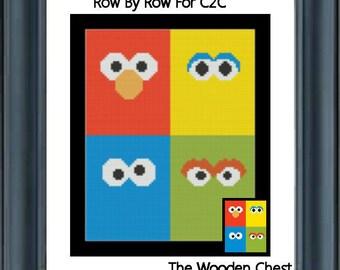 Sesame Street Inspired / Row By Row C2C / Graph Pattern / Crochet / Corner  To