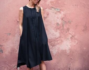 Dress with pleats / Black summer dres / Black sleevless dress / Dress with pockets /Handmade dress / Black designer dress