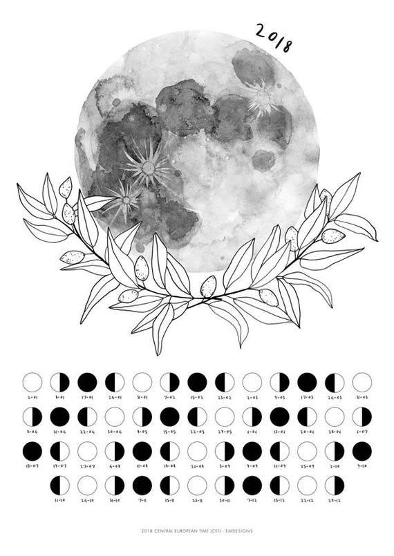 Moon calendar 2018 Moon wall calendar 2018 best christmas