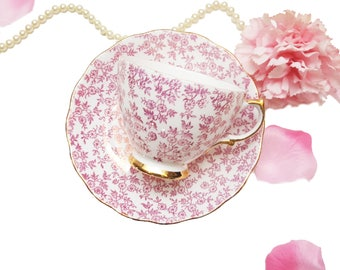Royal Vale Pink Chintz Tea Cup, Pink Floral Teacup, Made in England