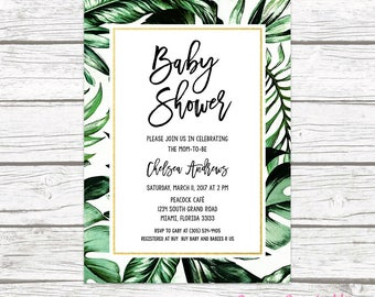 Tropical Baby Shower Invitation, Tropical Invitation, Palm Tree Leaf Baby Shower Invite, Gender Neutral Baby Shower, Printable Invitation