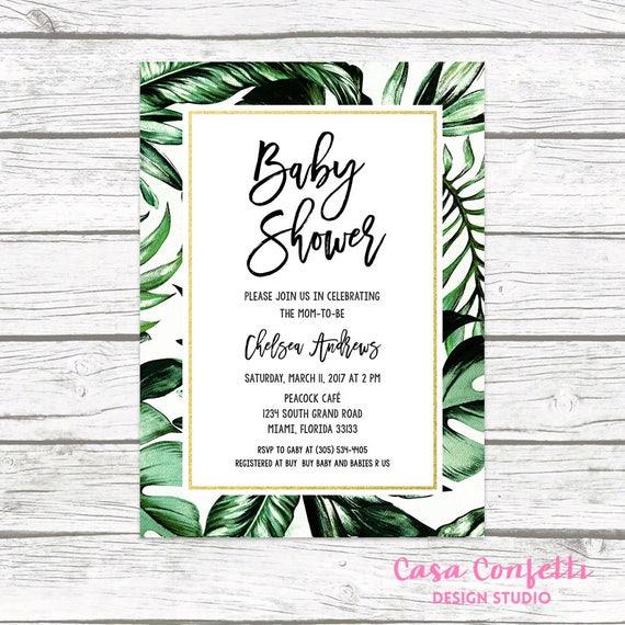 Tropical Baby Shower Invitation Tropical Invitation Palm