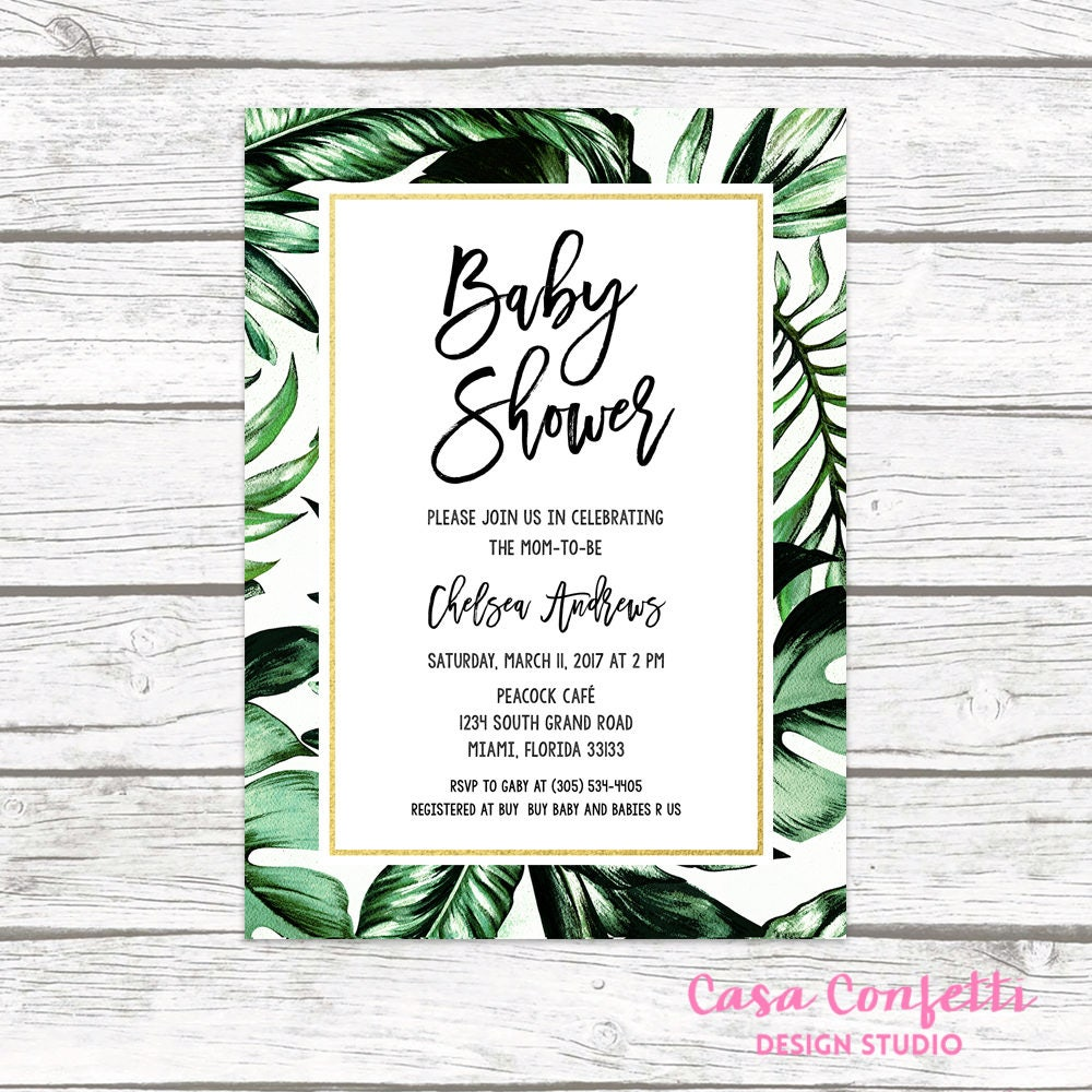 Tropical Baby Shower Invitation, Tropical Invitation, Palm Tree ...