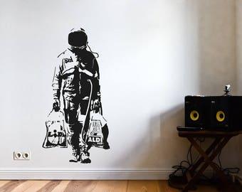 Banksy wandtattoo zebra waschstation wandsticker streetart - Wandsticker graffiti ...