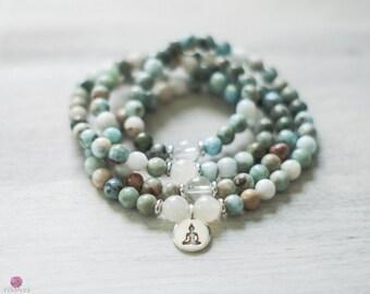 ZEN - Larimar 108 Mala - Wrist Mala - Intention Mala - Healing Jewelry - Yoga Bracelet - Gemstone Mala - Healing Jewelry