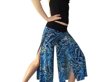 Blue Cheetah Rhinstone; Cropped Tango Pant; Double Slit Tango Pant; Milonga Pant