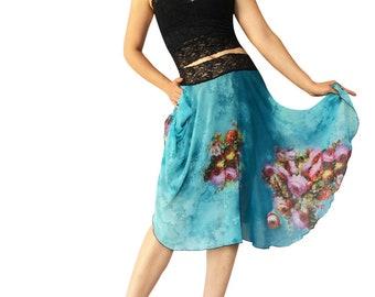 Turquoise Floral Vignette Chiffon Circle Tango Skirt