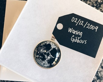 Handpainted Custom Birth Moon Phase Necklace Pendant Birthday
